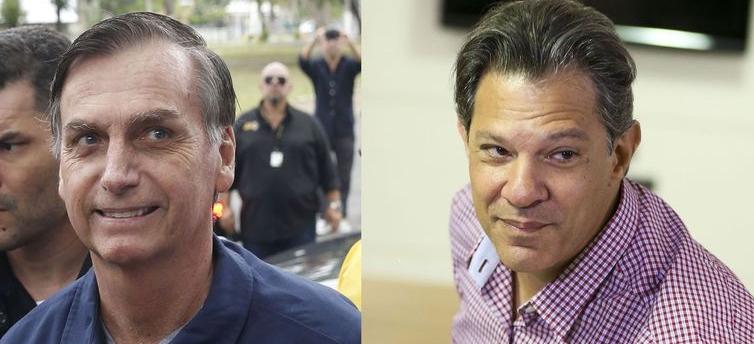 Os candidatos à Presidência ,Jair Bolsonaro (PSL) e Fernando Haddad (PT)