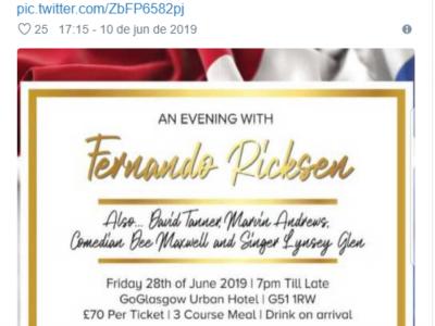O convite  para o evento, pede a venda de todos os ingressos em honra deste 'bravo guerreiro'.